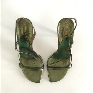 Vintage Kate Spade Metallic Green Sandal Heels